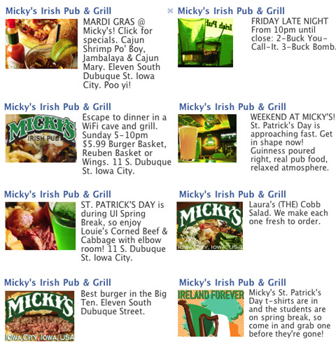 Micky's Irish Pub & Grill 2011 Facebook ads