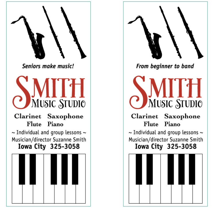 Marketing pieces for Smith Music Studio