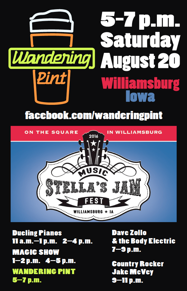 Poster highlighting Wandering Pint at Stella's Jam