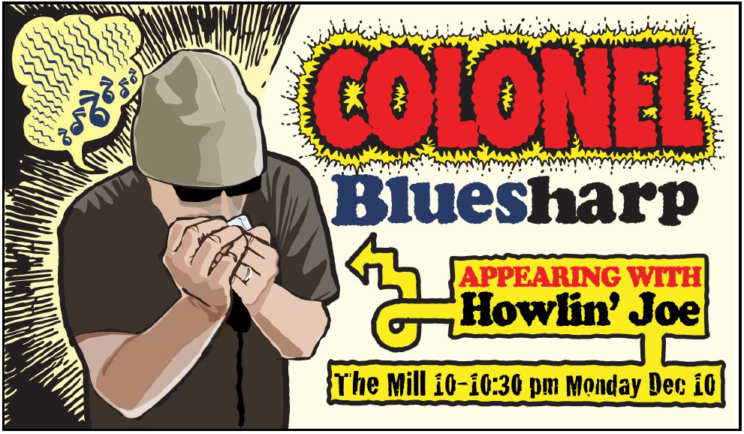 Ad for blues duo, with graphics emulating Robert Crumb